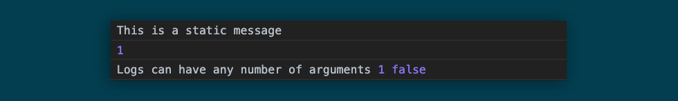 An example of basic console log usage to log a static string, a variable, and multiple mixed arguments
